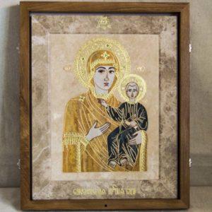 Икона Смоленской Божией Матери № 1-12-1 подарочная из мрамора, камня, изображение, фото 1
