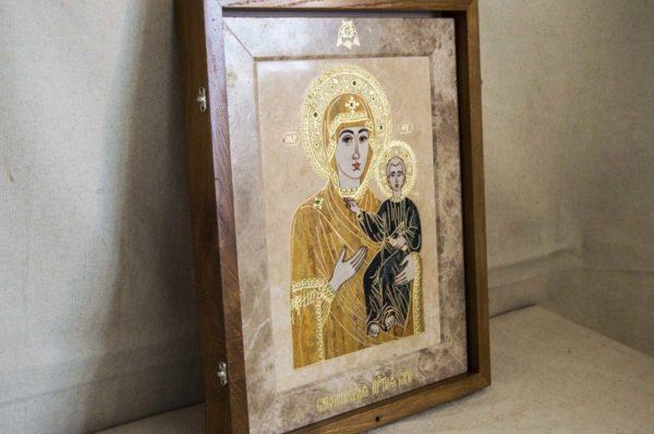 Икона Смоленской Божией Матери № 1-12-1 подарочная из мрамора, камня, изображение, фото 2