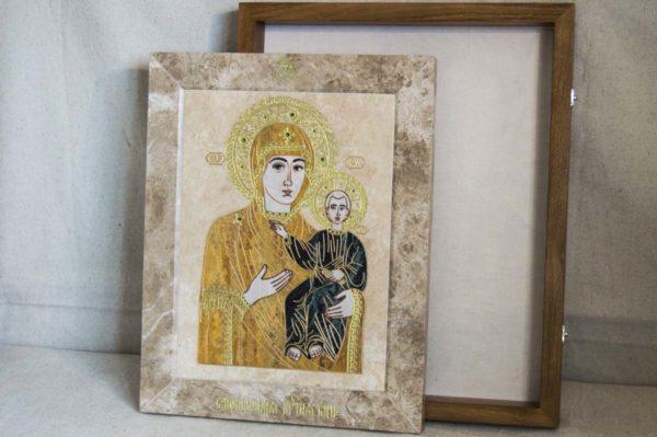 Икона Смоленской Божией Матери № 1-12-1 подарочная из мрамора, камня, изображение, фото 7