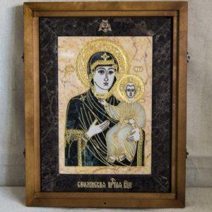 Икона Смоленской Божией Матери № 2-12-1 подарочная из мрамора, камня, изображение, фото 1