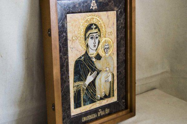 Икона Смоленской Божией Матери № 2-12-1 подарочная из мрамора, камня, изображение, фото 2