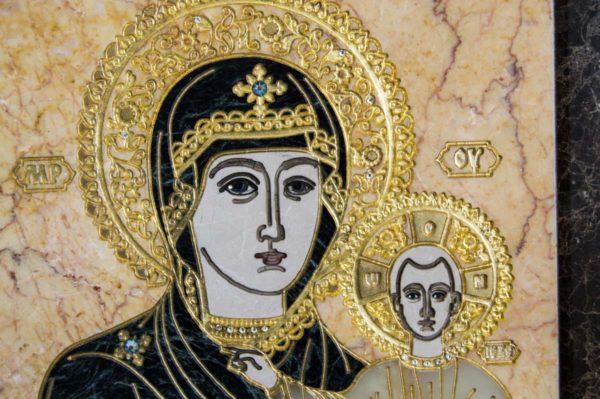 Икона Смоленской Божией Матери № 2-12-1 подарочная из мрамора, камня, изображение, фото 3