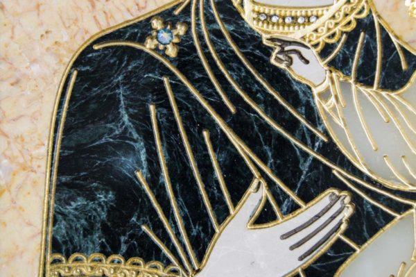 Икона Смоленской Божией Матери № 2-12-1 подарочная из мрамора, камня, изображение, фото 4