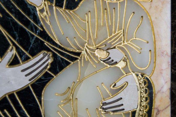 Икона Смоленской Божией Матери № 2-12-1 подарочная из мрамора, камня, изображение, фото 5
