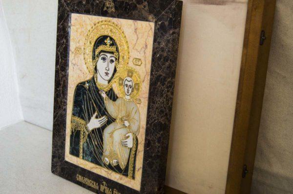 Икона Смоленской Божией Матери № 2-12-1 подарочная из мрамора, камня, изображение, фото 9