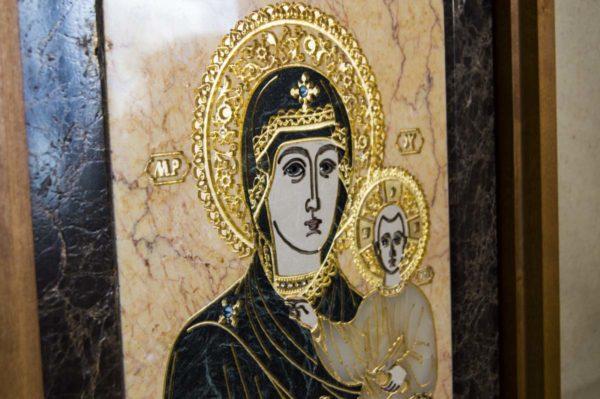 Икона Смоленской Божией Матери № 2-12-1 подарочная из мрамора, камня, изображение, фото 10