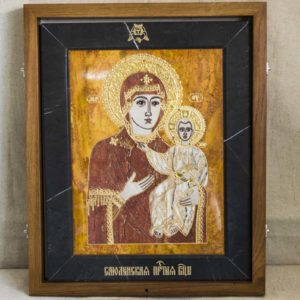 Икона Смоленской Божией Матери № 1-12-3 подарочная из мрамора, камня, изображение, фото 1