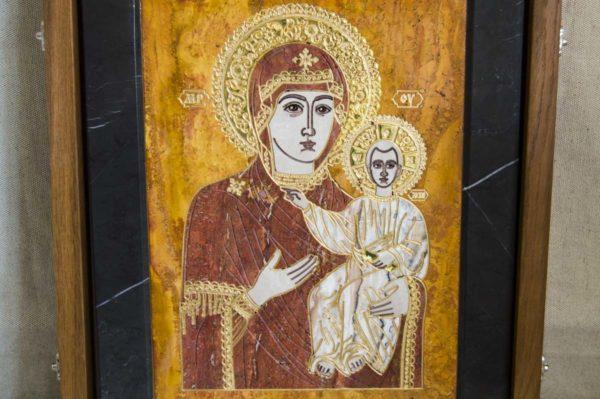 Икона Смоленской Божией Матери № 1-12-3 подарочная из мрамора, камня, изображение, фото 2