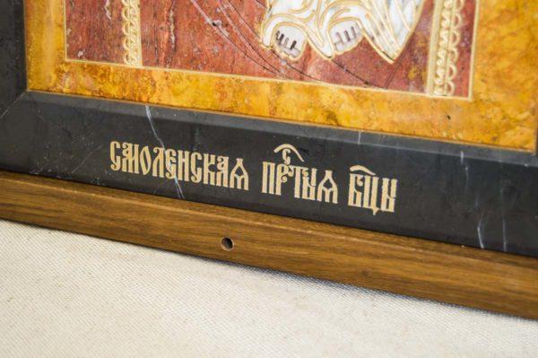Икона Смоленской Божией Матери № 1-12-3 подарочная из мрамора, камня, изображение, фото 3