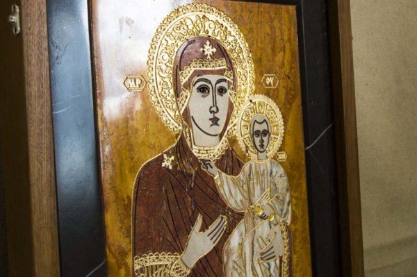 Икона Смоленской Божией Матери № 1-12-3 подарочная из мрамора, камня, изображение, фото 4