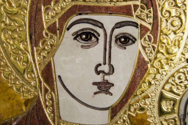 Икона Смоленской Божией Матери № 1-12-3 подарочная из мрамора, камня, изображение, фото 5