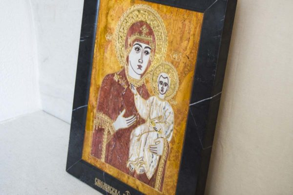 Икона Смоленской Божией Матери № 1-12-3 подарочная из мрамора, камня, изображение, фото 9