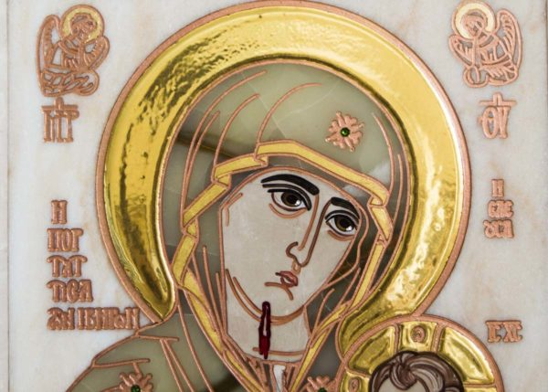 Икона Иверской Божией Матери Без № 2 из мрамора, камня, от Гливи, фото 2