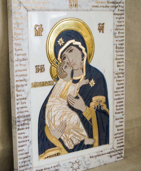 Икона Владимирской Божией Матери № 2-12-7 из мрамора, камня, от Гливи, фото 1