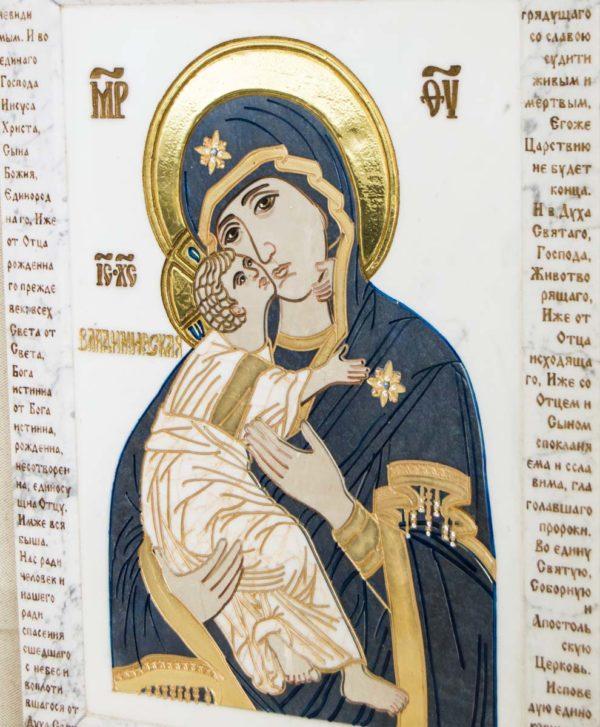 Икона Владимирской Божией Матери № 2-12-7 из мрамора, камня, от Гливи, фото 2