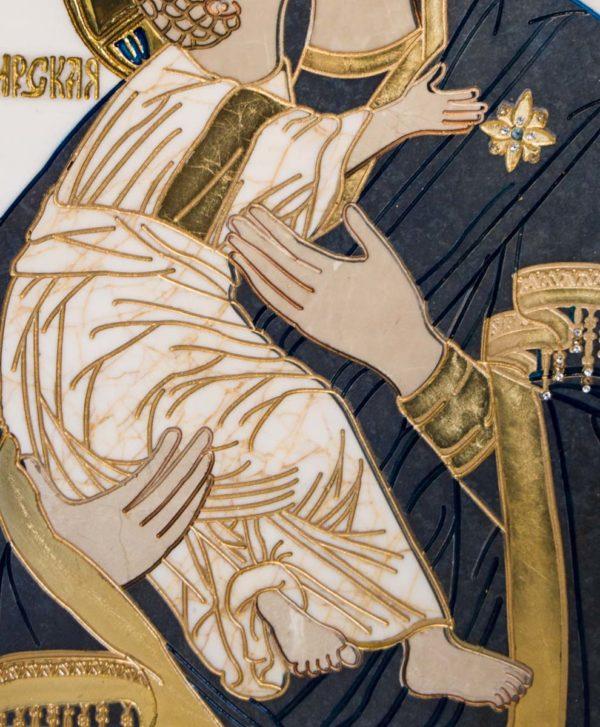 Икона Владимирской Божией Матери № 2-12-7 из мрамора, камня, от Гливи, фото 4