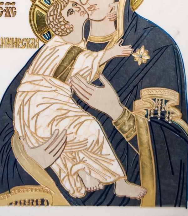 Икона Владимирской Божией Матери № 2-12-7 из мрамора, камня, от Гливи, фото 5