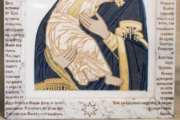 Икона Владимирской Божией Матери № 2-12-7 из мрамора, камня, от Гливи, фото 6