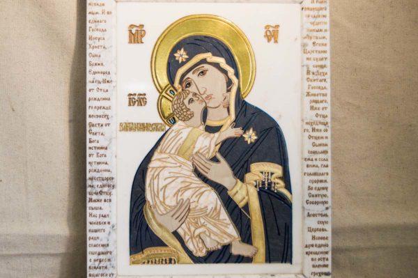 Икона Владимирской Божией Матери № 2-12-7 из мрамора, камня, от Гливи, фото 7