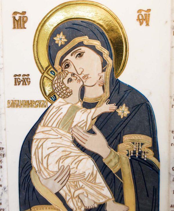 Икона Владимирской Божией Матери № 2-12-7 из мрамора, камня, от Гливи, фото 10