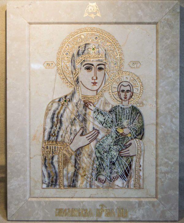 Икона Смоленской Божией Матери № 1-12-5 подарочная из мрамора, камня, изображение, фото 1