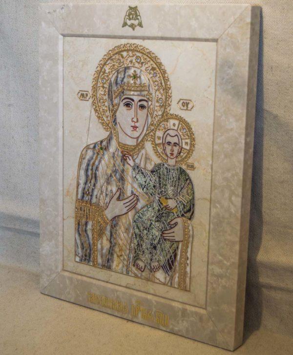 Икона Смоленской Божией Матери № 1-12-5 подарочная из мрамора, камня, изображение, фото 2