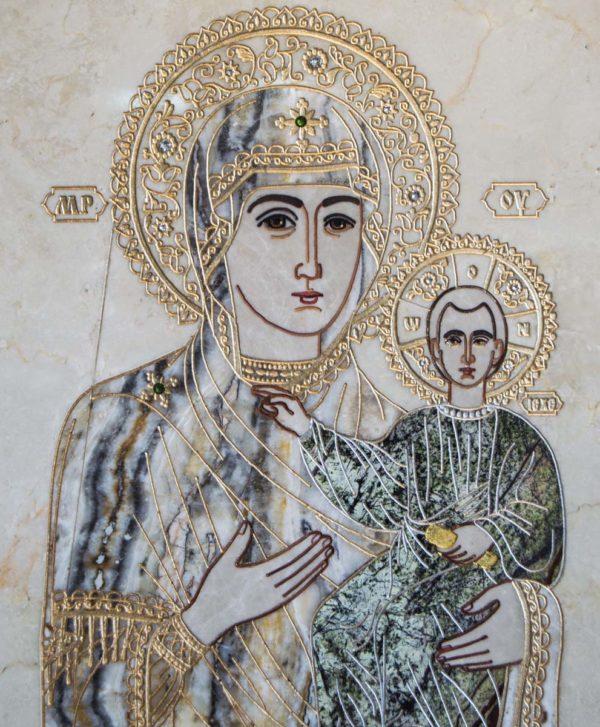 Икона Смоленской Божией Матери № 1-12-5 подарочная из мрамора, камня, изображение, фото 3
