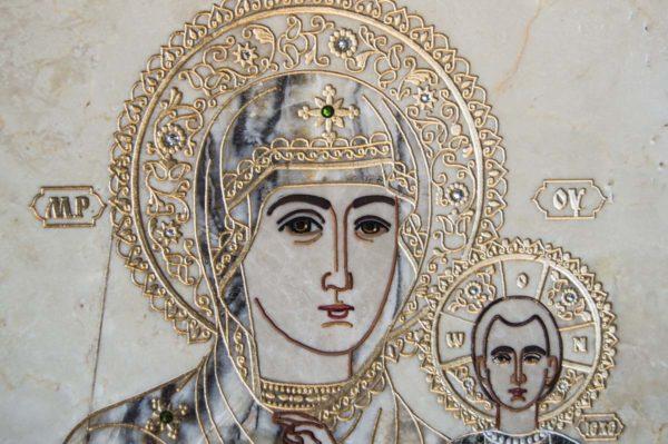 Икона Смоленской Божией Матери № 1-12-5 подарочная из мрамора, камня, изображение, фото 4