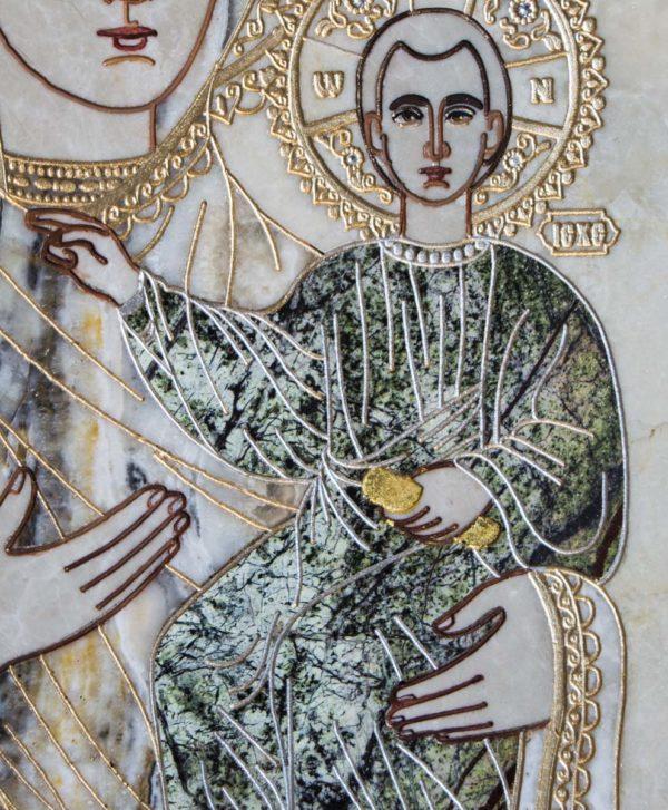 Икона Смоленской Божией Матери № 1-12-5 подарочная из мрамора, камня, изображение, фото 5
