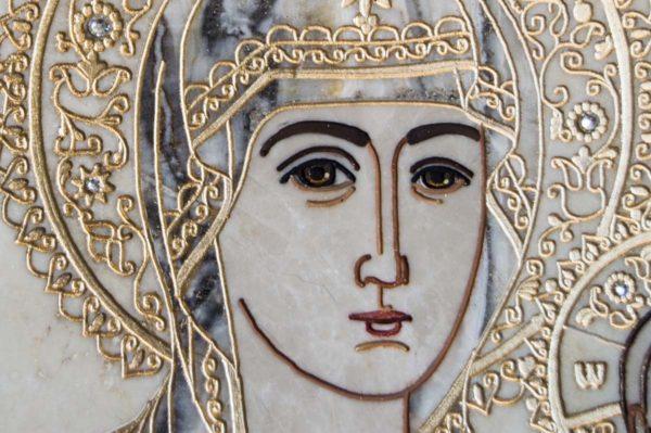 Икона Смоленской Божией Матери № 1-12-5 подарочная из мрамора, камня, изображение, фото 6