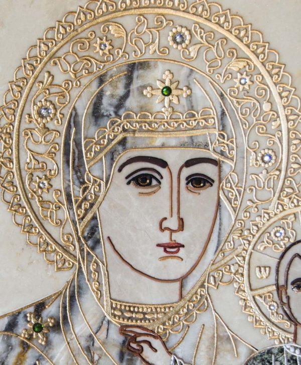 Икона Смоленской Божией Матери № 1-12-5 подарочная из мрамора, камня, изображение, фото 7