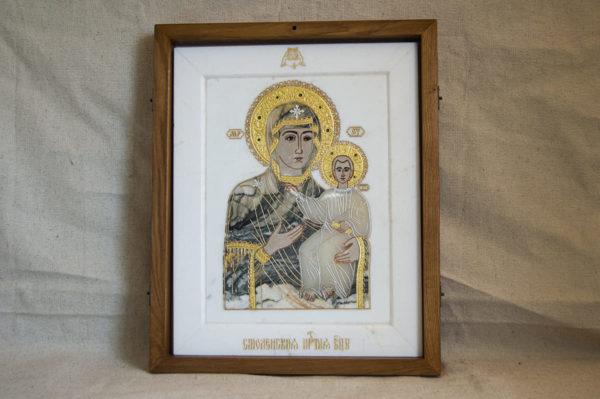 Икона Смоленской Божией Матери № 1-12-8 подарочная из мрамора, камня, изображение, фото 1