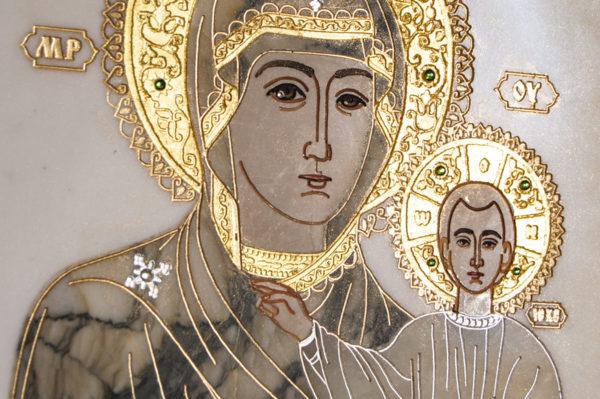 Икона Смоленской Божией Матери № 1-12-8 подарочная из мрамора, камня, изображение, фото 5