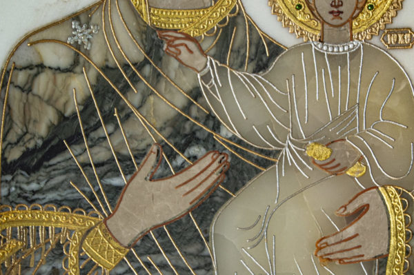 Икона Смоленской Божией Матери № 1-12-8 подарочная из мрамора, камня, изображение, фото 7