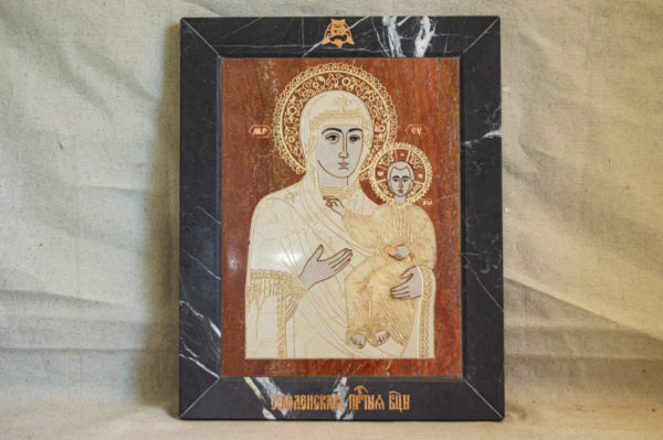 Икона Смоленской Божией Матери № 1-12-7 подарочная из мрамора, камня, изображение, фото 1