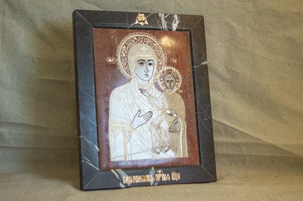 Икона Смоленской Божией Матери № 1-12-7 подарочная из мрамора, камня, изображение, фото 2
