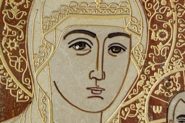 Икона Смоленской Божией Матери № 1-12-7 подарочная из мрамора, камня, изображение, фото 9