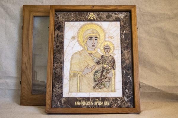 Икона Смоленской Божией Матери № 1-12-9 подарочная из мрамора, камня, изображение, фото 1