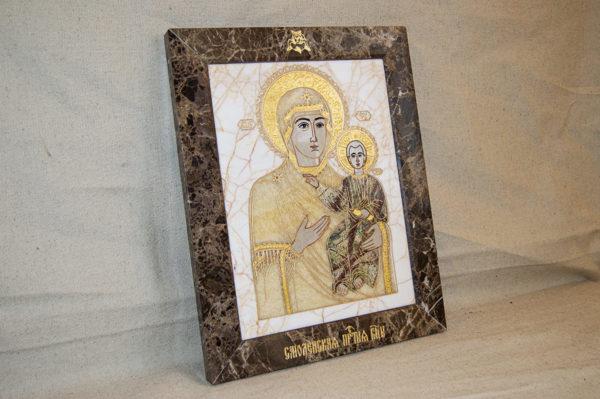Икона Смоленской Божией Матери № 1-12-9 подарочная из мрамора, камня, изображение, фото 2