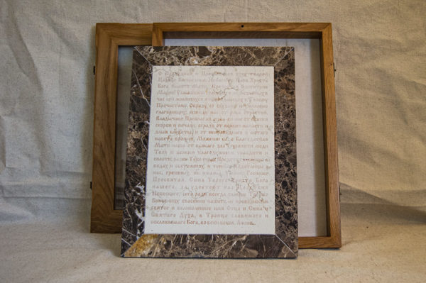 Икона Смоленской Божией Матери № 1-12-9 подарочная из мрамора, камня, изображение, фото 3