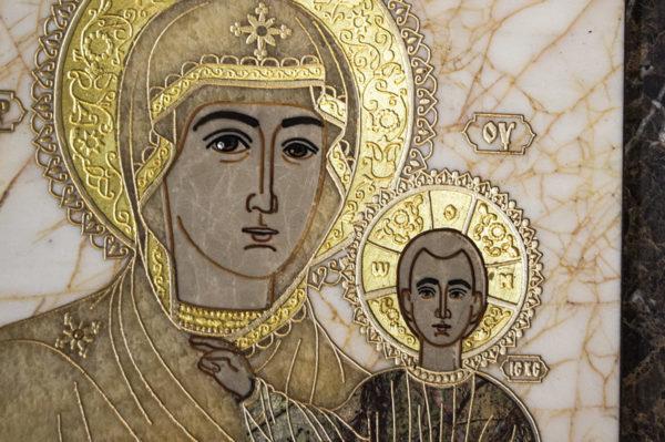 Икона Смоленской Божией Матери № 1-12-9 подарочная из мрамора, камня, изображение, фото 4