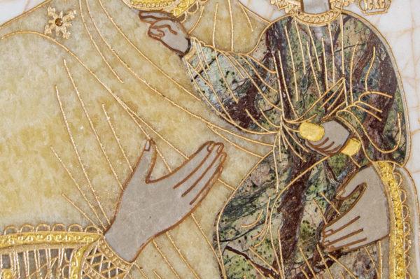 Икона Смоленской Божией Матери № 1-12-9 подарочная из мрамора, камня, изображение, фото 5