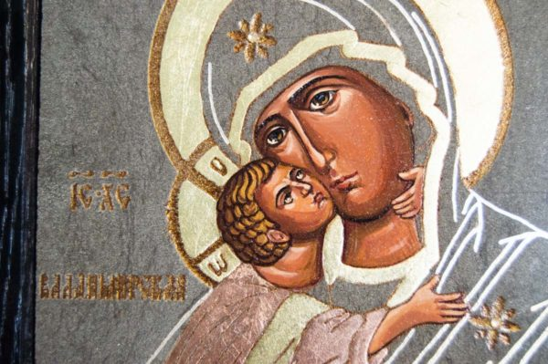 Икона Владимирской Божией Матери № 1-6 из мрамора, камня, от Гливи, фото 2