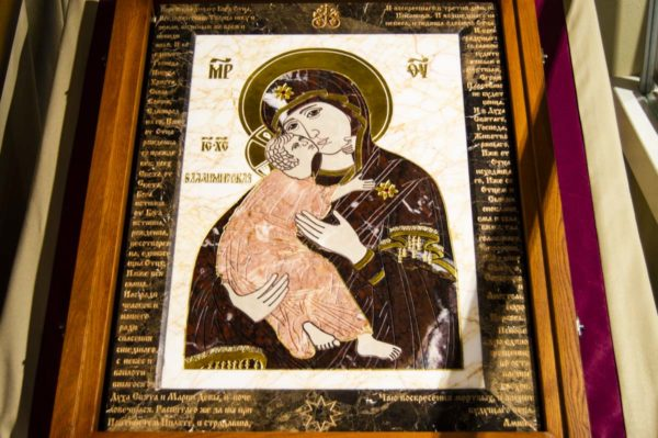 Икона Владимирской Божией Матери № 2-12-5 из мрамора, камня, от Гливи, фото 1