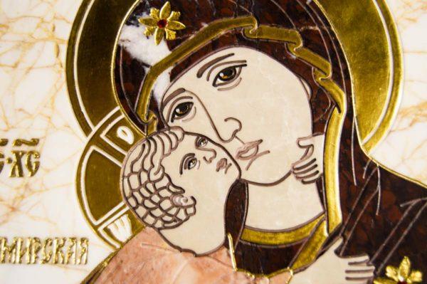 Икона Владимирской Божией Матери № 2-12-5 из мрамора, камня, от Гливи, фото 2