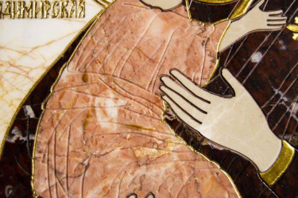 Икона Владимирской Божией Матери № 2-12-5 из мрамора, камня, от Гливи, фото 3