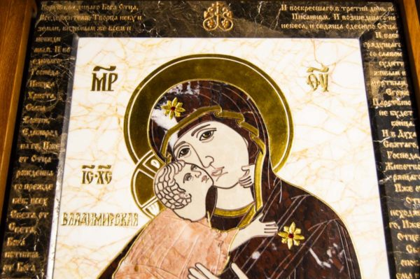 Икона Владимирской Божией Матери № 2-12-5 из мрамора, камня, от Гливи, фото 5