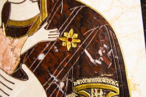 Икона Владимирской Божией Матери № 2-12-5 из мрамора, камня, от Гливи, фото 6