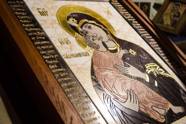 Икона Владимирской Божией Матери № 2-12-5 из мрамора, камня, от Гливи, фото 7