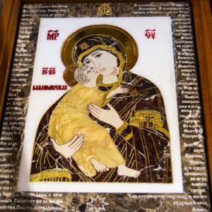 Икона Владимирской Божией Матери № 2-12-1 из мрамора, камня, от Гливи, фото 1